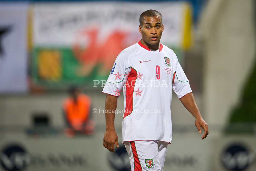 VADUZ, LIECHTENSTEIN - Wednesday, October 14, 2009: Wales' Jermaine Easter rues two missed chances against Liechtenstein during the 2010 FIFA World Cup Qualifying Group 4 match at the Rheinpark Stadion. (Pic by David Rawcliffe/Propaganda)