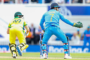 India MS Dhoni, whose tournament gloves now controversially lack the army insignia following a ruling by the ICC, during the ICC Cricket World Cup 2019 match between India and Australia at the Oval, London, United Kingdom on 9 June 2019.