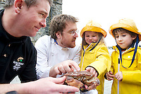 26/02/2013 Repro free.   Noel Holland Galway Bay Seafoods with  Jp McManus  Anair, Ava Heneghan and Harry Donnelly both aged 5 from Headford at the  announcing of details of the 2nd Galway Food Festival which takes place in Galway from the 28th March till the 1st April during Easter weekend. Picture:Andrew Downes.