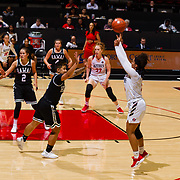 09 November 2018: San Diego State Aztecs guard Te'a Adams (5) takes a jump shot over a Hawaii defender closing down on her in the third quarter. The Aztecs opened up it's regular season schedule with a 58-57 win over Hawaii Friday at Viejas Arena.