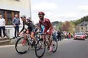 Belgium, Liege - Sunday, April 26, 2009: Marcel Wyss (Cervélo TestTeam) and Nico Sijmens (Cofidis) lead Hubert Dupont (AG2R La Mondiale and Cyril Gautier (Bbox Bouygues Telecom) up the Cote de Sainte Roche  during the Liege Bastogne Liege cycle race..(Image by Peter Horrell / http://peterhorrell.com)