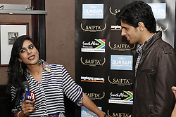 DURBAN - 5 September 2013 - Bollywood star Sidharth Malhotra is interviewed by tv9's Suman Dubey in Durban, South Africa, where he is attending the South Africa India Film and Television Awards. Picture: Allied Picture Press/APP