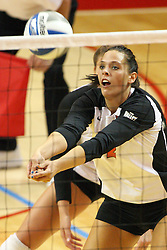 01 September 2012:  LeighAnn Hranka digs out a ball near the net during an NCAA womens volleyball match between the Oregon State Beavers and the Illinois State Redbirds at Redbird Arena in Normal IL