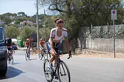 Lizzie Deignan (GBR) of Boels-Dolmans Cycling Team rides back to the team bus after signing on for Stage 9 of the Giro Rosa - a 122.3 km road race, between Centola fraz. Palinuro and Polla on July 8, 2017, in Salerno, Italy. (Photo by Balint Hamvas/Velofocus.com)