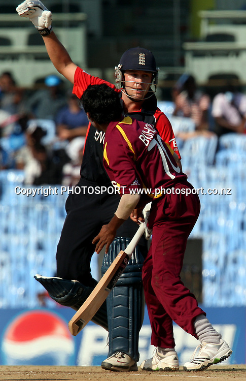 West Indies bowler Devendra Bishoo and England batsman Jonathan Trott during the ICC Cricket World Cup - 36th Match, Group B England vs West Indies Played at MA Chidambaram Stadium, Chepauk, Chennai (neutral venue) 17 March 2011 - day/night (50-over match)