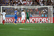 England Forward Wayne Rooney earns an early is awarded a penalty kick during the Round of 16 Euro 2016 match between England and Iceland at Stade de Nice, Nice, France on 27 June 2016. Photo by Andy Walter.