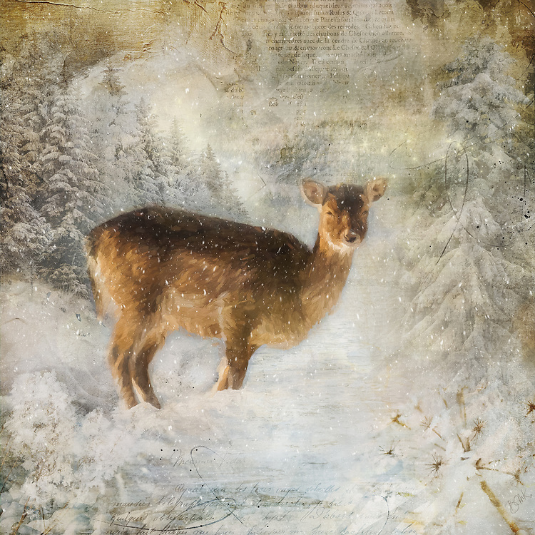 Painterly rendition of a deer in a winter landscape