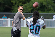 Carolina Panthers running back Jordan Scarlett (20) catches a pass during training camp at Wofford College, Sunday, August 11, 2019, in Spartanburg, S.C. (Brian Villanueva/Image of Sport)