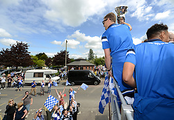 Bristol Rovers' Lee Mansell celebrates with the Vanarama Play-Off Final trophy during a bus tour - Photo mandatory by-line: Dougie Allward/JMP - Mobile: 07966 386802 - 25/05/2015 - SPORT - Football - Bristol - Bristol Rovers Bus Tour