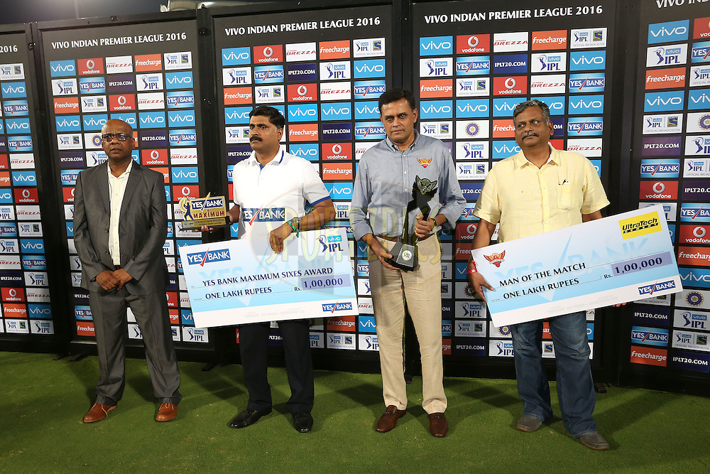 The Post Match Presentation Party during match 22 of the Vivo IPL 2016 (Indian Premier League) between the Sunrisers Hyderabad and the Rising Pune Supergiants held at the Rajiv Gandhi Intl. Cricket Stadium, Hyderabad on the 26th April 2016<br /> <br /> Photo by Shaun Roy / IPL/ SPORTZPICS
