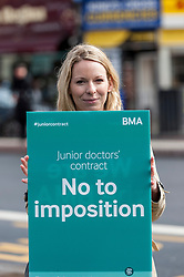 "© Licensed to London News Pictures. 06/04/2016. London, UK. Junior doctors hold an event outside King's Cross station for the public to ""meet the doctors"" as they stage the fourth strike against changes to contracts. Photo credit : Stephen Chung/LNP"