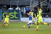 New Signing Carlisle United forward Mark Cullen (13) shoots at goal during the EFL Sky Bet League 2 match between Carlisle United and Exeter City at Brunton Park, Carlisle, England on 9 February 2019.