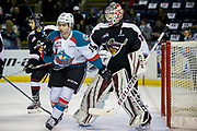 KELOWNA, CANADA - MARCH 10:  Dillon Dube #19 of the Kelowna Rockets, David Tendeck #30 of the Vancouver Giants at the Kelowna Rockets game on March 10, 2017 at Prospera Place in Kelowna, British Columbia, Canada.  (Photo By Cindy Rogers/Nyasa Photography,  *** Local Caption ***