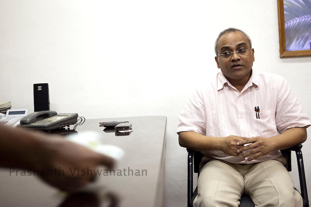 Radha Krishnan of Genmini Cinema speaks during an interview at the studio office in Chennai, India, on Wednesday, January 12, 2011. Photographer: Prashanth Vishwanathan/HELSINGIN SANOMAT