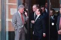"""19 JUN 1999 - COLOGNE, GERMANY:<br /> Bill Clinton, Präsident USA, gibt Gerhard Schröder, Bundeskanzler, offensichtlich einen Hinweis vor dem """"Familienfoto"""" während dem G8 Wirtschaftgipfel Köln<br /> Bill Clinton, President USA, gives Gerhard Schroeder an indication before the Family Photo during the G8 Economic Summit <br /> IMAGE: 19990619-01/02-04"""