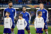 Chelsea FC forward Oliver Giroud (18), Chelsea FC forward Pedro (11) and Chelsea FC midfielder Ross Barkley (8) before the Europa League quarter-final, leg 2 of 2 match between Chelsea and Slavia Prague at Stamford Bridge, London, England on 18 April 2019.