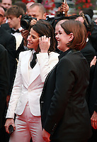Robyn Shapiro and Megan Ellison at the Foxcatcher gala screening red carpet at the 67th Cannes Film Festival France. Monday 19th May 2014 in Cannes Film Festival, France.