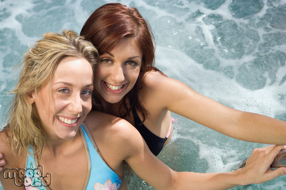 Portrait of Two Young Women in Hot Tub