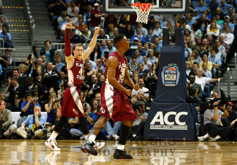 Florida State Seminoles guard Deividas Dulkys (4) reacts while playing against the North Carolina Tar Heels during their championship game of the ACC basketball tournament college basketball game at Philips Arena in Atlanta, Georgia on March 11, 2012. The Florida State Seminoles defeated the North Carolina Tar Heels 85-82. (Photo by Chris Keane - www.chriskeane.com)