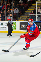 KELOWNA, BC - DECEMBER 18: Ilia Morozov #6 of Team Russia skates with the puck against Team Sweden at Prospera Place on December 18, 2018 in Kelowna, Canada. (Photo by Marissa Baecker/Getty Images)***Local Caption***