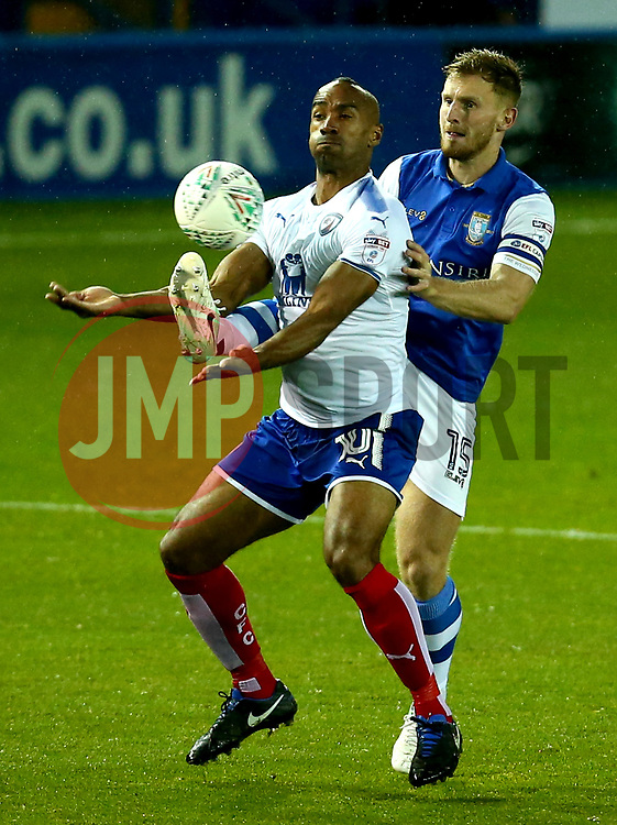 Tom Lees of Sheffield Wednesday tackles Chris O'Grady of Chesterfield - Mandatory by-line: Robbie Stephenson/JMP - 08/08/2017 - FOOTBALL - Hillsborough - Sheffield, England - Sheffield Wednesday v Chesterfield - Carabao Cup