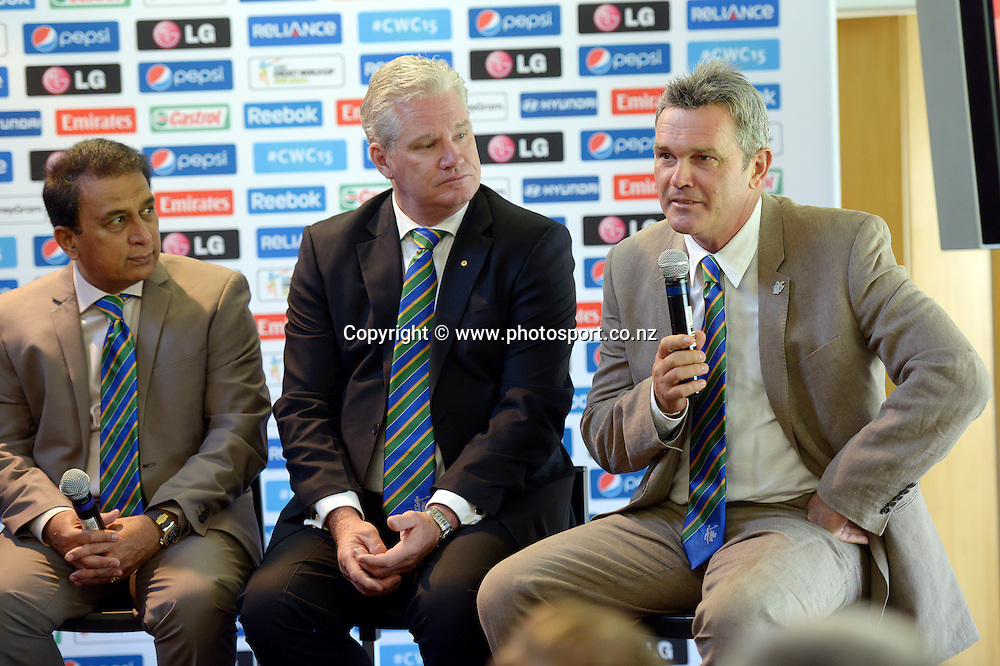 Martin Crowe speaks at a Cricket World Cup function before the start of play on Day 1 of the 2nd cricket test match at The Hawkins Basin Reserve. Wellington. ANZ Test Series, New Zealand Black Caps v India. Friday 14 February 2014. Photo: Andrew Cornaga/www.Photosport.co.nz