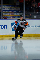 KELOWNA, CANADA - MARCH 9: Referee Ryan Benbow skates onto the ice at the Kelowna Rockets against the Kamloops Blazers  on March 9, 2019 at Prospera Place in Kelowna, British Columbia, Canada.  (Photo by Marissa Baecker/Shoot the Breeze)