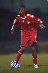 BRISTOL, ENGLAND - Thursday, January 15, 2009: Liverpool's David Amoo in action against Bristol Rovers during the FA Youth Cup match at the Memorial Stadium. (Mandatory credit: David Rawcliffe/Propaganda)