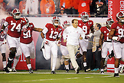 Alabama Crimson Tide head coach Nick Saban leads his team out onto the field for the National Championship game at Raymond James Stadium in Tampa, Monday, January 9, 2017.