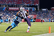 NASHVILLE, TN - AUGUST 17:  Damoun Patterson #17 of the New England Patriots catches a touchdown pass against Brandon Bolden #38 of the Tennessee Titans during week two of the preseason at Nissan Stadium on August 17, 2019 in Nashville, Tennessee.  The Patriots defeated the Titans 22-17.  (Photo by Wesley Hitt/Getty Images) *** Local Caption *** Damoun Patterson; Brandon Bolden
