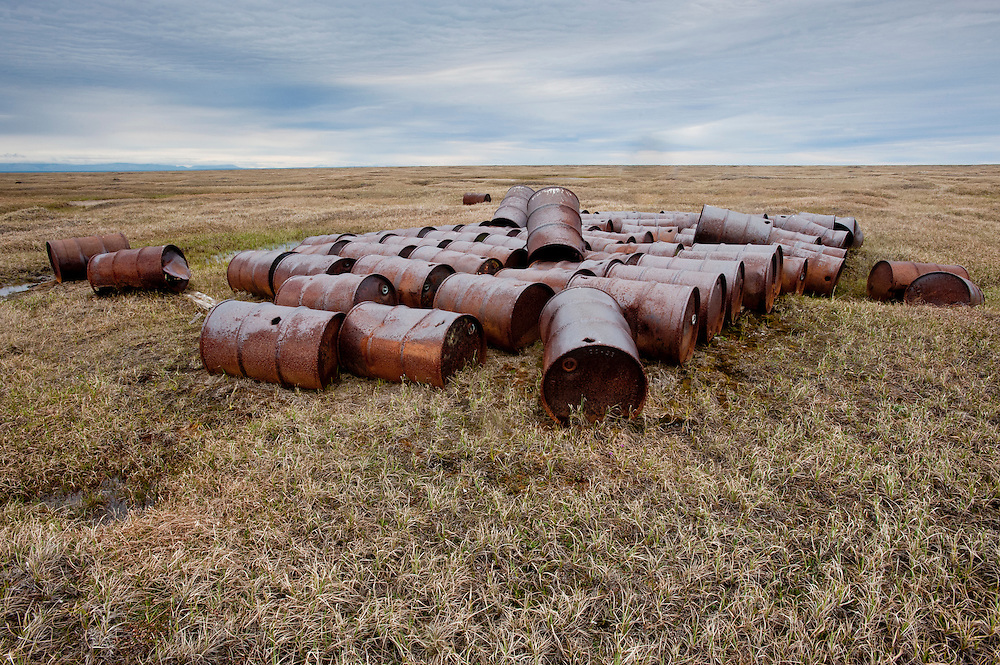 An old oil drum cache left over from a DEW line site at Brownlow Point in the Arctic National Wildlife Refuge, Alaska