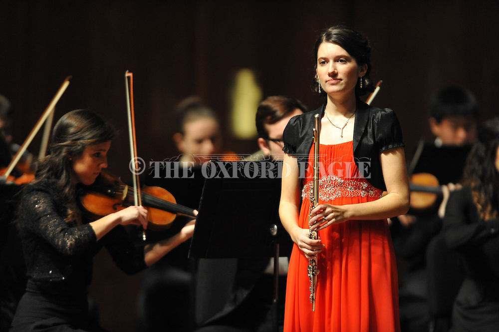 "Chelsea Riches performs on flute as the LOU Symphony plays Franz Doppler's ""Fantasie Pastorale Hongroise, Op. 26"" at the Ford Center in Oxford, Miss. on Monday, February 9, 2015."