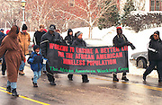 Martin Luther King Day Parade carrying banner for the homeless  St Paul Minnesota USA
