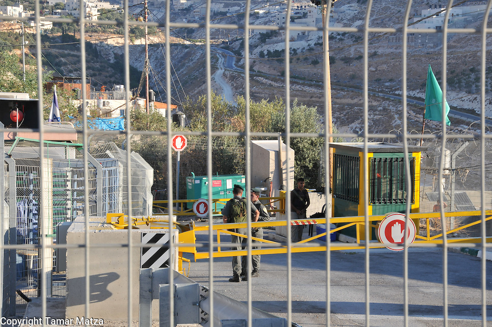September 1st. 2009, first day of school, at the checkpoint in Shech Saed located in East Jerusalem. Children pass through military checkpoints in order to get to school