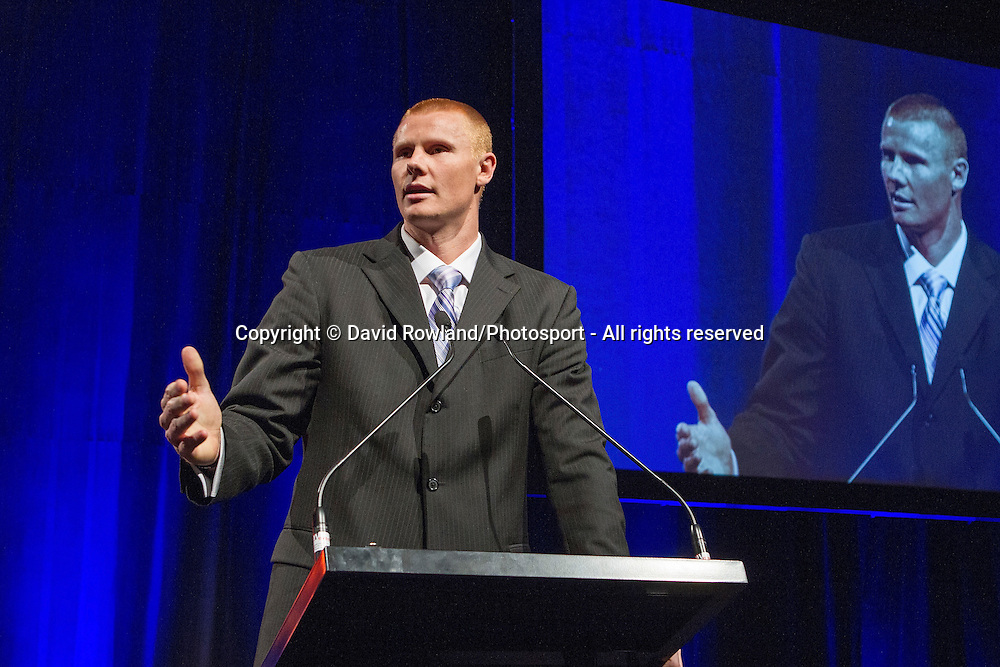 Breakers' Gary Wilkinson speaks at the Skycity Breakers Awards, 2013-14, Skycity Convention Centre, Auckland, New Zealand, Friday, March 28, 2014. Photo: David Rowland/Photosport