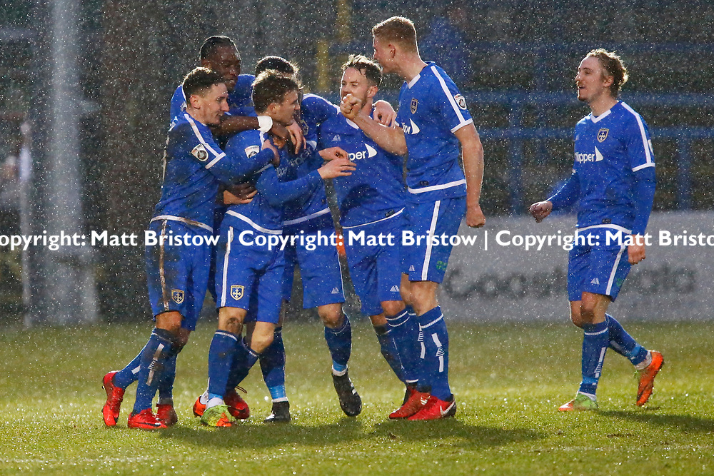 Team mates celebrate with Guiseleys forward Dayle Southwell after his goal during the Vanorama National League match between Dover Athletic and Guiseley at Crabble Stadium, London, England on 27 January 2018. Photo by Matt Bristow.
