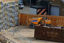 © Licensed to London News Pictures. 23/03/2015. LONDON, UK. The area where a suspected unexploded WWII bomb was discovered by builders at The Grange in Southwark, London on Monday 23 March 2015. The unexploded bomb is thought to be approximately 5ft long and 1000lbs in weight. Photo credit : Tolga Akmen/LNP