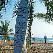 Surfboard with menu. Puerto Escondido. Oaxaca, Mexico.