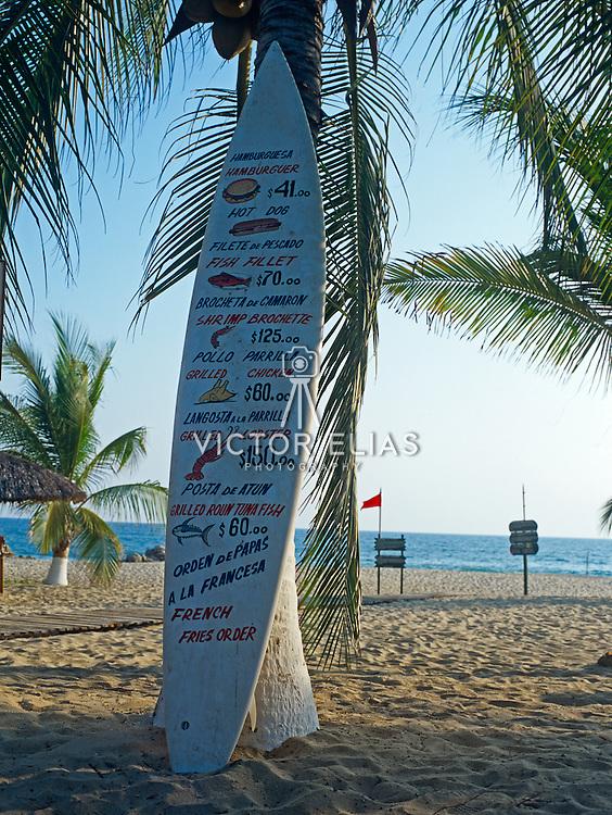 Surfboard with menu. Puerto Escondido. Oaxaca, Mexico.