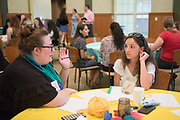 Mary Kate Kennedy (left) talks with her mentee during the Women's Mentoring Meet and Greet event on Sept. 4, 2018 in Walter Rotunda. Photo by Hannah Ruhoff