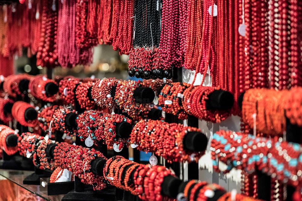 Red coral jewelry on display, Alghero, Sardinia, Italy.