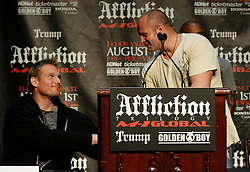 """June 3, 2009; New York, NY, USA; Fedor Emelianenko (r) and Josh Barnett (l) shake hands at the press conference announcing their fight at Affliction M-1 Global's """"Trilogy"""".  The two will meet on August 1, 2009 at the Honda Center in Anaheim, CA."""