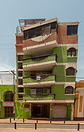 Santa Marta, Columbia April 22, 2018.  A 5 story building gives the appearance of being crooked and leaning over in Santa Marta, Columbia.