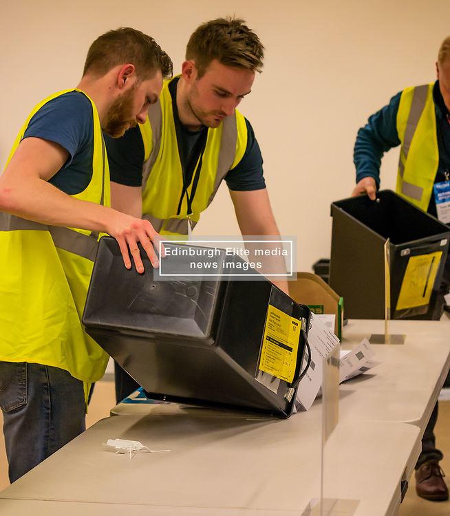 Pictured: Leith Walk Council By-Election. Edinburgh City Council, Edinburgh, Scotland, 11 April 2019. Pictured: The ballot boxes arrive. 25,526 residents are registered to vote in one of the most densely populated areas in Scotland under the Single Transferable Vote (STV) system. This is the first time in Scotland that an STV by-election has been needed to fill two vacancies in the same ward, held as a result of the resignation of Councillor Marion Donaldson. The election fielded 11 candidates, including the first ever candidate for the For Britain Movement in Scotland, Paul Stirling, founded by former UKIP leadership candidate Anne Marie Waters in March 2018.<br /> <br /> Sally Anderson | EdinburghElitemedia.co.uk