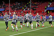 Manchester United players work out in their warm up before the Champions League match between Sevilla and Manchester United at the Ramon Sanchez Pizjuan Stadium, Seville, Spain on 21 February 2018. Picture by Phil Duncan.