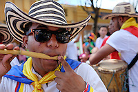 MIAMI - MARCH 9, 2014: Portrait of colombian street performer during the 37th Calle Ocho festival, an annual event that takes place over Eight Street in Little Havana featuring plenty of music, food, and  it is the biggest party in town that celebrates hispanic heritage.