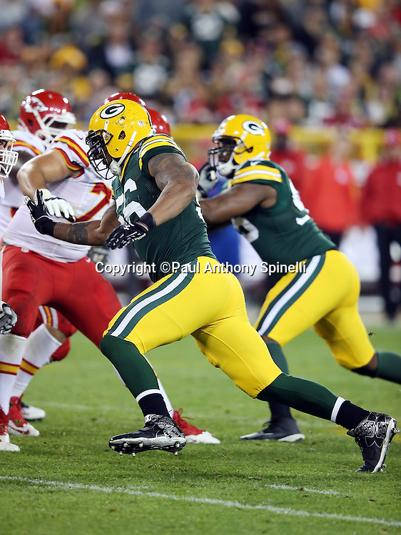 Green Bay Packers outside linebacker Julius Peppers (56) chases the action during the 2015 NFL week 3 regular season football game against the Kansas City Chiefs on Monday, Sept. 28, 2015 in Green Bay, Wis. The Packers won the game 38-28. (©Paul Anthony Spinelli)