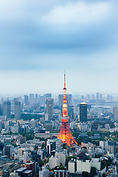 View of skyline of Tokyo and the Television Tower in Japan