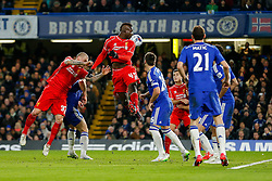 Mario Balotelli of Liverpool cant quite connect with a corner ball to get a shot on target - Photo mandatory by-line: Rogan Thomson/JMP - 07966 386802 - 27/01/2015 - SPORT - FOOTBALL - London, England - Stamford Bridge - Chelsea v Liverpool - Capital One Cup Semi-Final Second Leg.
