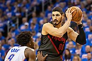 OKLAHOMA CITY, OK - APRIL 21: Enes Kanter #00 of the Portland Trail Blazers with the ball while being defended by Jerami Grant #9 of the Oklahoma City Thunder during Round One Game Three of the 2019 NBA Playoffs on April 21, 2019 at Chesapeake Energy Arena in Oklahoma City, Oklahoma  NOTE TO USER: User expressly acknowledges and agrees that, by downloading and or using this photograph, User is consenting to the terms and conditions of the Getty Images License Agreement.  The Trail Blazers defeated the Thunder 111-98.  (Photo by Wesley Hitt/Getty Images) *** Local Caption *** Jerami Grant; Enes Kanter